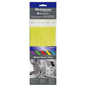 "Baumgartens Wristpass Security Wrist Bands, 10"" x 3/4"", Yellow, 100 Bands/Pack by"