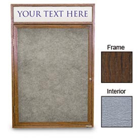 "United Visual Products 18""W x 24""H 1-Door Enclosed Gray Easy Tack Board with Header and Walnut Frame"