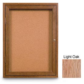 "United Visual Products 18""W x 24""H 1-Door Non-illuminated Corkboard with Light Oak Frame"