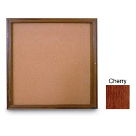 "United Visual Products 36""W x 36""H 1-Door Non-Illuminated Corkboard with Cherry Frame"