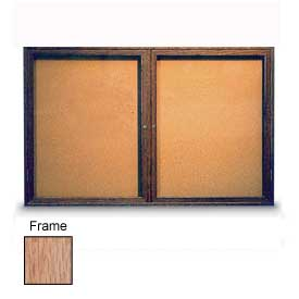 "United Visual Products 60""W x 36""H 2-Door Illuminated Corkboard with Light Oak Frame"