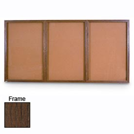 "United Visual Products 96""W x 48""H 3-Door Illuminated Corkboard with Walnut Frame"