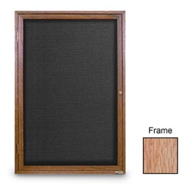 "United Visual Products 18""W x 24""H 1-Door Indoor Wood Enclosed Letter Board with Light Oak Frame"