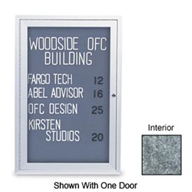 "United Visual Products 48"" x 36"" 2-Door Indoor Enclosed Marble Easy Tack Board with Satin Frame"