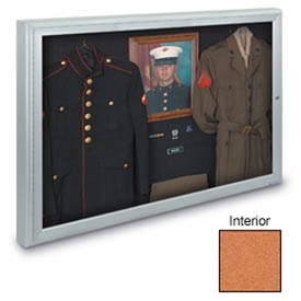 "United Visual Products 48""W x 36""H 1-Door Radius Framed Indoor Enclosed Corkboard"