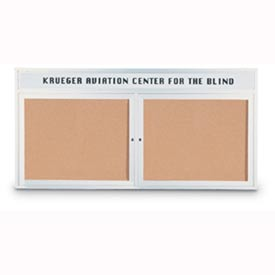 "United Visual Products 48""W x 36""H 2-Door Indoor Enclosed Illuminated Corkboard with Header"