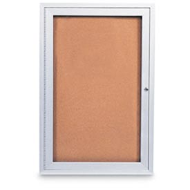 "United Visual 18""W x 24""H 1-Door Outdoor Enclosed Illuminated Corkboard w/Satin Aluminum Frame"