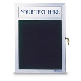 "United Visual Products 18""W x 24""H Slim Style Enclosed Letter Board with Header and Satin Frame"