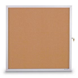 "United Visual Products 30""W x 36""H Slim Style Enclosed Corkboard with Satin Frame"