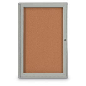 "United Visual Products 24""W x 36""H 1-Door Indoor Enclosed Corkboard with Radius Corners"