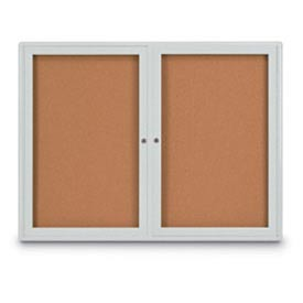 "United Visual Products 42""W x 32""H 2-Door Indoor Enclosed Corkboard with Radius Corners"