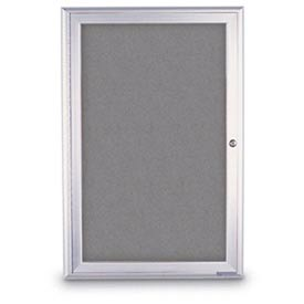 "United Visual Products 36""W x 36""H 1-Door Radius Framed Enclosed Gray Easy Tack Board W/Satin Frame"