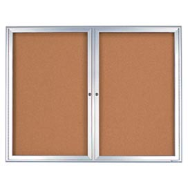 "United Visual Products 60""W x 36""H 2-Door Indoor Enclosed Corkboard with Radius Frame"
