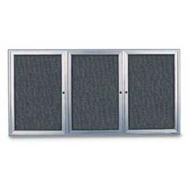 "United Visual 96""W x 48""H 3-Door Radius Framed Enclosed Marble Easy Tack Board with Satin Frame"