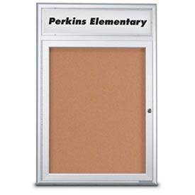 "United Visual Products 36""W x 36""H 1-Door Indoor Enclosed Corkboard with Header and Radius Corners"