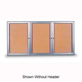 "United Visual Products 96""W x 48""H 3-Door Indoor Enclosed Corkboard with Header and Radius Frame"