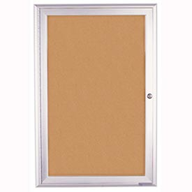 "United Visual Products 36""W x 36""H 1-Door Outdoor Enclosed Corkboard with Radius Frame"