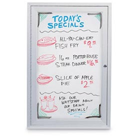 """United Visual Products 24""""W x 36""""H 1-Door Indoor Enclosed White Dry-Erase Board"""