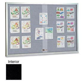 "United Visual Products 48""W x 36""H Sliding Glass Black Easy Tack Board with Satin Frame"