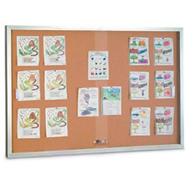 "United Visual Products 72""W x 36""H Sliding Glass Door Corkboard with Satin Frame"