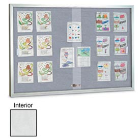 """United Visual Products 72""""W x 36""""H Sliding Glass White Easy Tack Board with Satin Frame"""