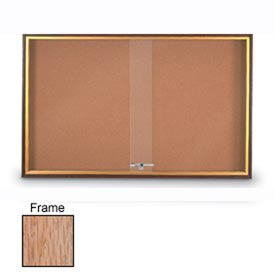 "United Visual Products 96""W x 36""H Sliding Door Corkboard with Light Oak Frame"