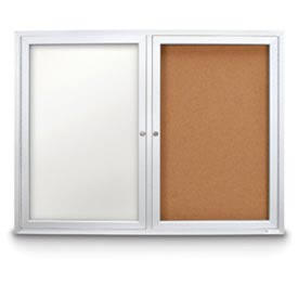 "United Visual Products 48""W x 36""H Outdoor Combo Board w/Corkboard & White Dry-Erase Board"