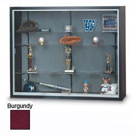 "72"" x 48"" x 8"" Black Laminate Display Case w/Three Shelves and Burgundy Interior"