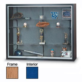 "60"" x 48"" x 16"" Oak Laminate Display Case w/3 Shelves and Cobalt Accent Interior"