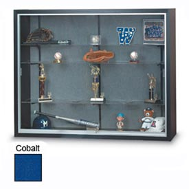"60""x48""x16"" Black Laminate Display Case w/3 Shelves and Cobalt Accent Interior"
