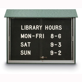 "United Visual Products 45""W x 30""H Letter Board Sliding Door Message Center, Woodland Green Frame"