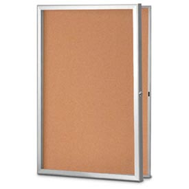 "United Visual Products 42""W x 32""H Slim Style Radius Framed Corkboard with Satin Frame"