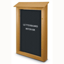"United Visual Products 26""W x 42""H Single Door Letter Board Message Center with Cedar Frame"
