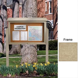 "United Visual Products 45""W x 30""H Cork Top-Hinged Single Door Message Center with Sand Frame"
