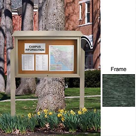 "United Visual 45""W x 30""H Cork Top-Hinged Single Door Message Center with Woodland Green Frame"