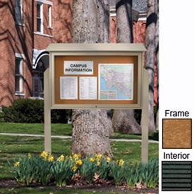 """United Visual Products 45""""W x 30""""H Letter Board Top-Hinged Single Door Message Center w/Cedar Frame"""
