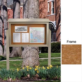 "United Visual Products 52""W x 40""H Cork Top-Hinged Single Door Message Center with Cedar Frame"