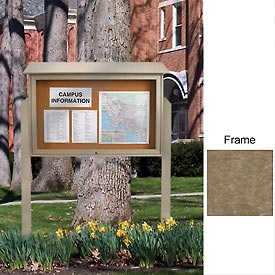"United Visual 52""W x 40""H Cork Top-Hinged Single Door Message Center with Weathered Wood Frame"