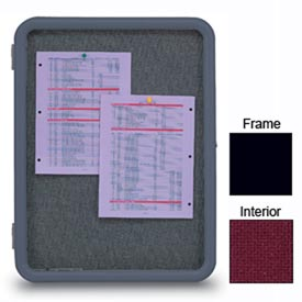 "United Visual Products 24""W x 36""H Image Enclosed Burgundy Fabricboard with Black Frame"