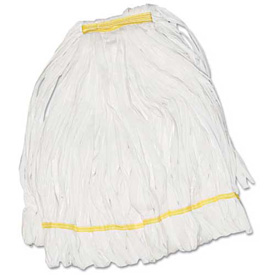 Medium Enviro Clean Looped-End Cotton/Synthetic Mop Head W/ Tailband, White 12/Pack - UNS8002