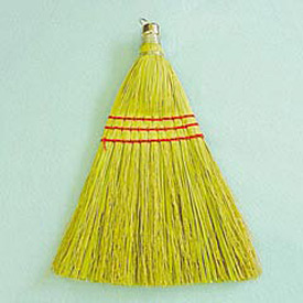 "10"" Wooden Whisk Broom W/ Corn Fiber Bristles, Yellow 12/Pack - UNS951WC"