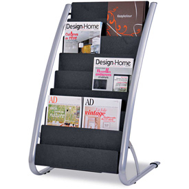 "Alba DDEXPO8 Literature Floor 8-Pocket Display Rack, 22-1/5""W x 18-2/5""D x 36""H, BLK/Chrome by"