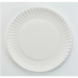 "AJM Packaging Corporation White Paper Plates, 6"" Diameter, 10 Bags of 100/Carton"
