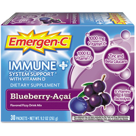 Emergen-C Immune+ Formula Drink Mix, Blueberry Acai, 0.3 Oz, 30/Pack