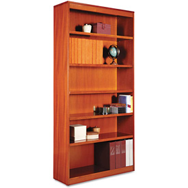 "Alera ALEBCS67236MC Square Corner Wood Veneer Bookcase, 6-Shelf, 35 5/8""Wx11-3/4""Dx72""H, Cherry"