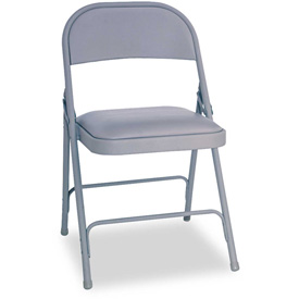 Alera® Steel Folding Chair With Padded Seat - Light Gray - 4/Carton