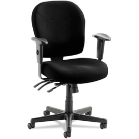 Alera® 24/7 Multifunction Chair - Fabric - Mid Back - Black - Wrigley Series