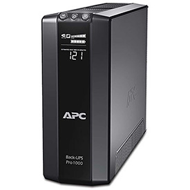 Click here to buy APC BR1000G Back-UPS Pro 1000 Battery Backup System, 8 Outlets, 1000 VA, 355 Joules.