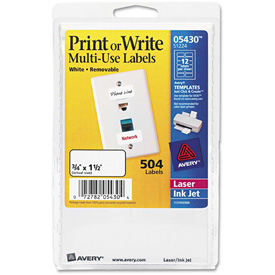 Avery® Print or Write Removable Multi-Use Labels, 3/4 x 1-1/2, White, 504/Pack