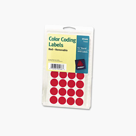 """Avery® Print or Write Removable Color-Coding Labels, 3/4"""" Dia, Red, 1008/Pack"""